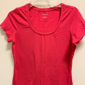 Lands End Fitted Scoop Neck T-shirt Size S (6-8)